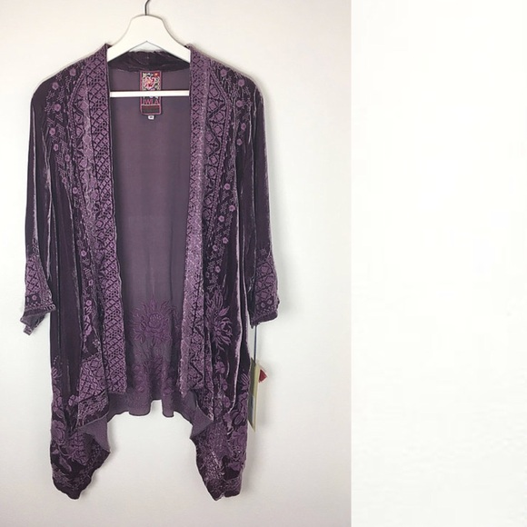 90656c2386 Sassi Velvet Draped Cardigan By JOHNNY WAS